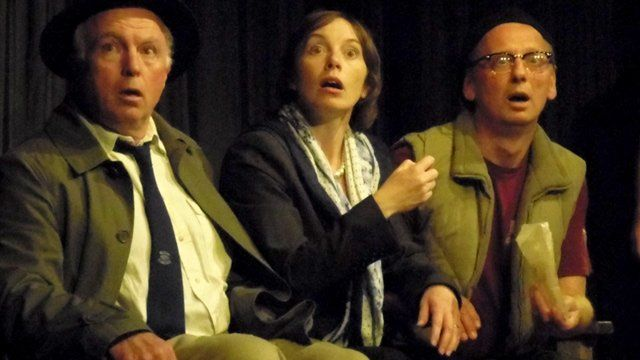 Andy Dixon, Pip Marsh and David Swan, of Solva Amateur Dramatic Society, in A Little Box of Oblivion