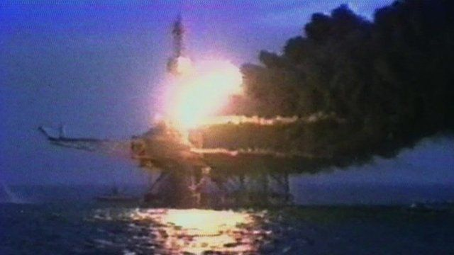Archive picture of the Piper Alpha rig on fire