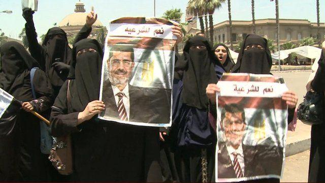 Demonstrators supporting ousted President Morsi