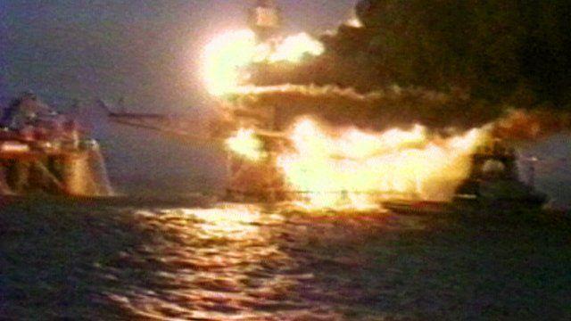 Piper Alpha platform on fire