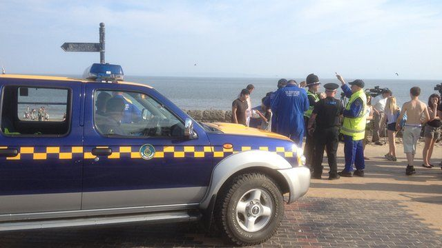 Emergency crews gathered at Barry Island in the search for the missing teenager
