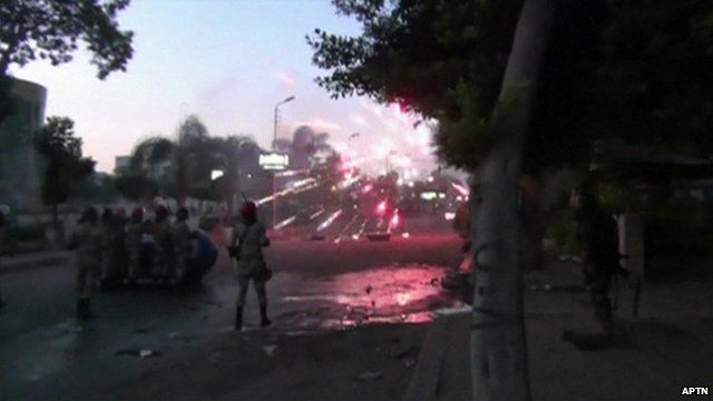 Soldiers coming under attack with fireworks
