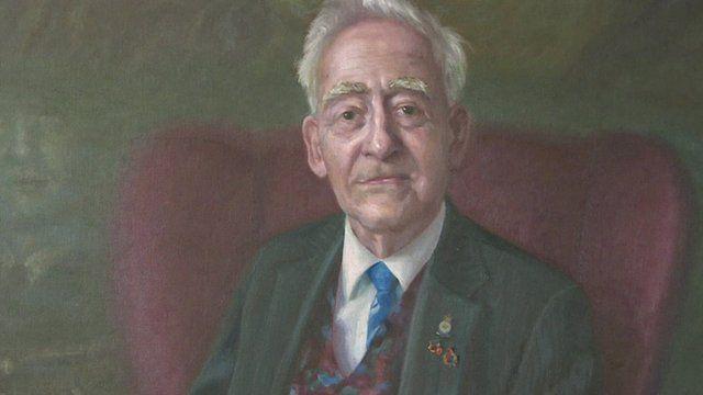 Detail of painting of Korean war veteran