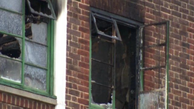 The window of the flat where the fire happened