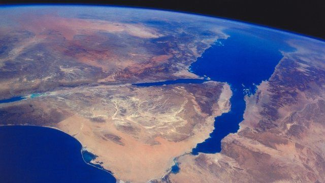 The Sinai Peninsula and the Nile Delta from space