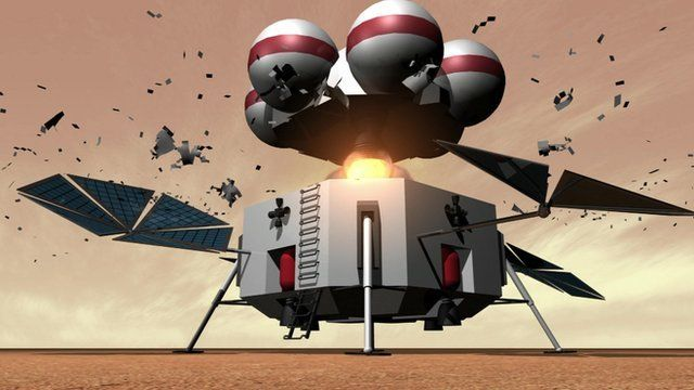 The ascent vehicle blasts off from Mars