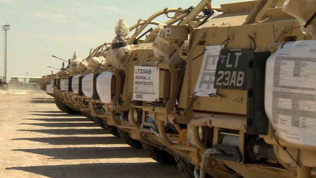 Row of armoured vehicles