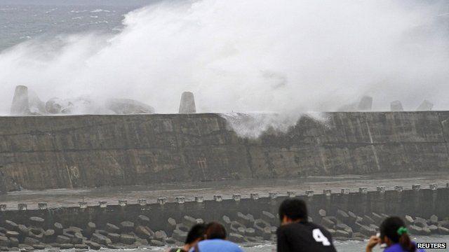 Wave crashing over a sea wall in Taiwan