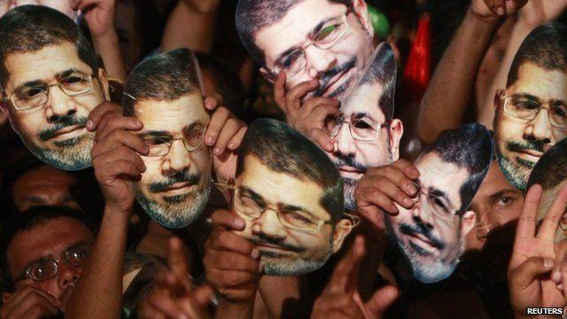 Protesters holding masks of Mohammed Morsi