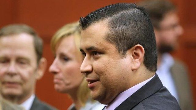 George Zimmerman after the verdict was announced (13 July)