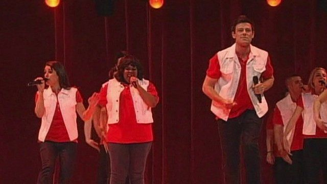Cory Monteith with other Glee cast members