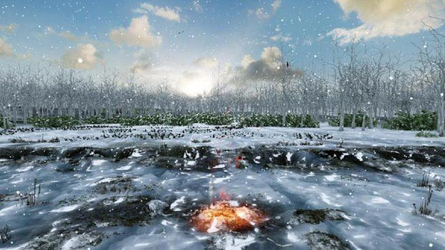 """An artist's impression of Warren Field about 10,000 years ago showing burning material in one of the """"calendar's"""" pits"""