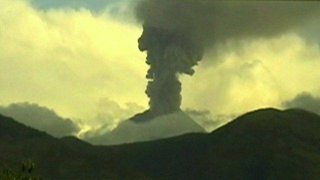 An ash column above the Tungurahua volcano in Ecuador
