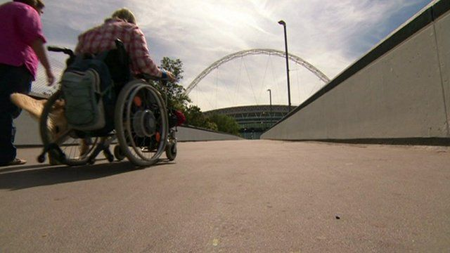 Disabled woman at Wembley Stadium