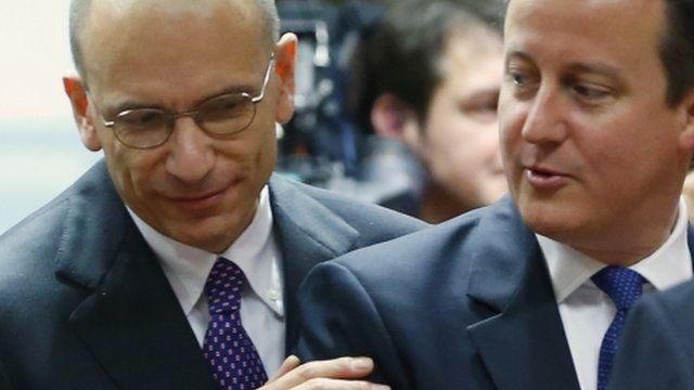 Enrico Letta and David Cameron at EU summit in June 2013