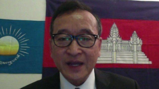 Cambodia's opposition leader Sam Rainsy