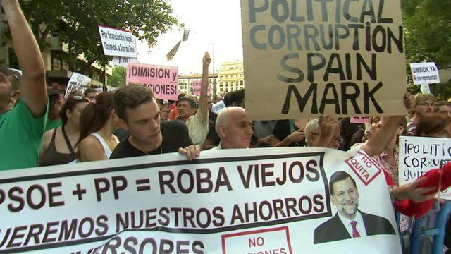 Protesters holding placards in Madrid