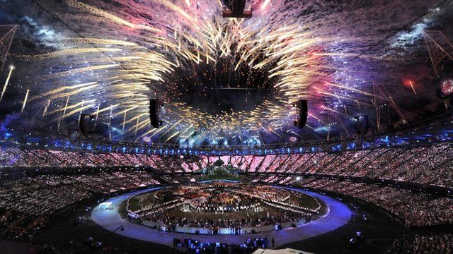Fireworks at the opening ceremony of the London Olympic Games 2012