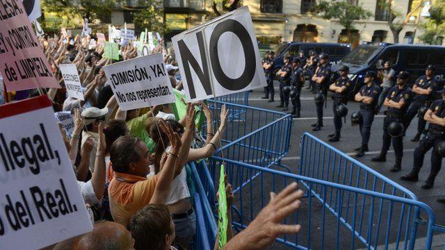 Demonstrators face police in Madrid, Spain