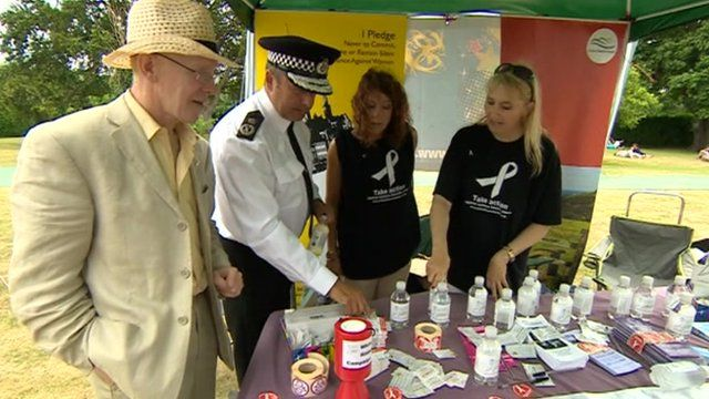 White Ribbon stand at the Gentleman of the Road Stopover Festival in Lewes