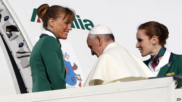 Pope Francis leaving Rome