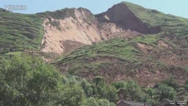 Earthquake triggers a landslide in Minxian, Gansu province