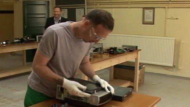 Inmate in prison workshop