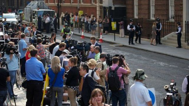 Outside the hospital where the Duchess of Cambridge is