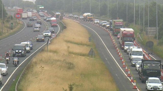 Queuing traffic on the A1 in Gateshead