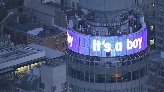 "BT Tower with the words ""it's a boy"""