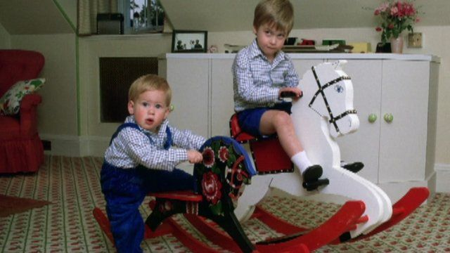 Princes' William and Harry on rocking horses