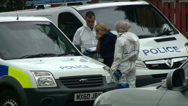 Police at the scene in Moston