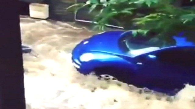 Car in floodwater