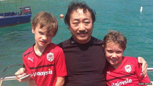 Vincent Tan with Aneurin and Ioan Dixon
