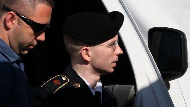 Bradley Manning arriving to hear the verdict in his miltary trial