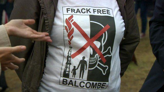 A protestor wearing an anti-fracking t-shirt