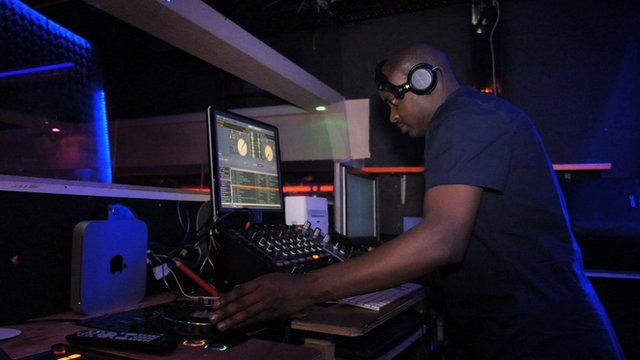 A DJ playing at 'Kampala Night' in London which draws people in from Norway and Sweden