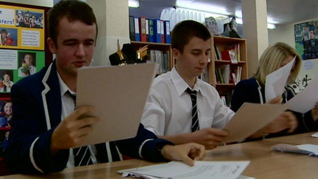 School pupils receive exam results