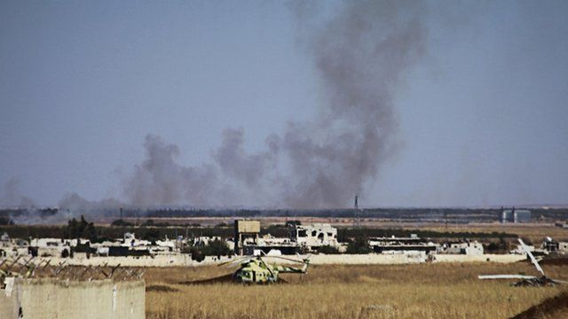 Smoke rising from Menagh air base near Aleppo