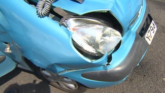 Car damaged in accident in South Yorkshire