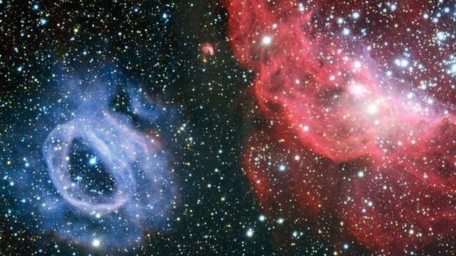 Two very different glowing gas clouds in the Large Magellanic Cloud
