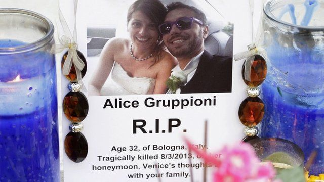 A picture of Alice Gruppioni and her husband Christian Casadei, a tourist couple on their honeymoon from Bologna, Italy