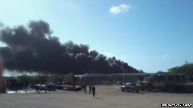Thick black smoke belching into sky in aftermath of Ethiopian cargo plane crash