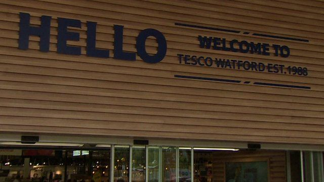 Frontage of new Tesco in Watford