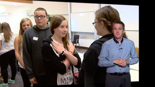 Students in a sign language class