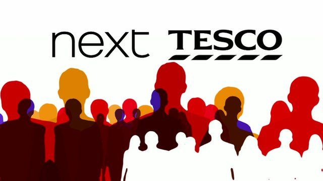 Graphic showing silhouettes of people and Next and Tesco logos