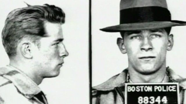 """Black and white mug shot of James """"Whitey"""" Bulger"""