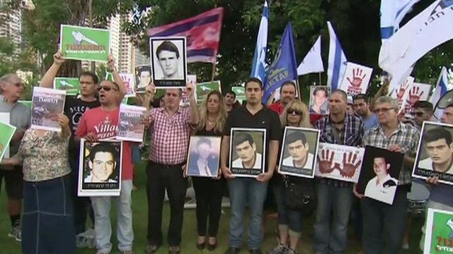 Israelis protesting at Palestinian prisoners release
