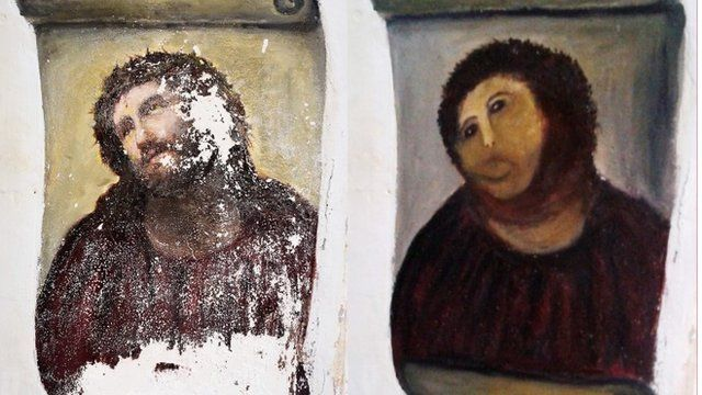 "Ecce Homo before and after ""restoration"""