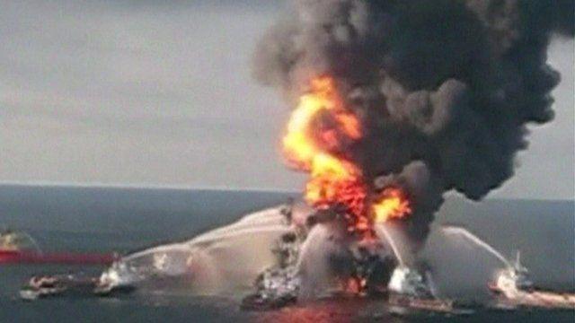 Deepwater Horizon rig on fire